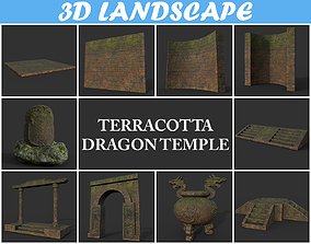 3D model Low poly Ancient Dragon Temple Pack 02 -