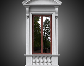 3D Classical window with pedestal and curved pediment