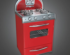 Retro Stove Midcentury Collection PBR Game Ready 3D model