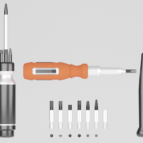 Screwdrivers with nozzles set Low-poly