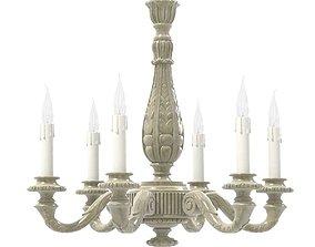French Vintage Six-Light Carved Wood Chandelier 3D