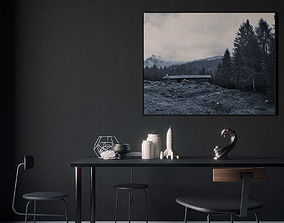 Black interior scene 3D
