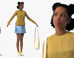 Street Style Light Skin Black Teenage Girl Rigged 3D model