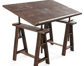 3D asset low-poly Old Drafting Table PBR