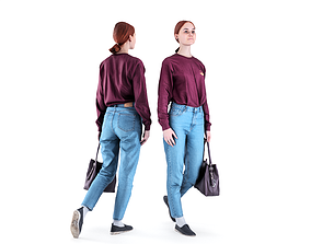 Woman casual style with a bag 87 3D model