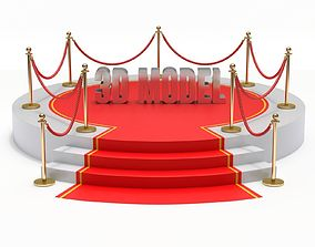 Round stage with red carpet 3D stanchion