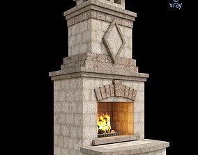 3D model Outdoor Fireplace 004