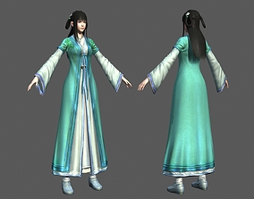 Maidservant in ancient China Pretty Girl 3D model
