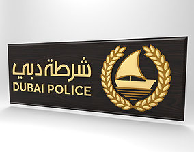 3D Dubai city Police emblem