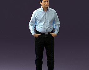Man in bright blue tshirt jeans 0649 3D Print