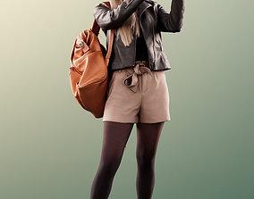11434 Celine - Woman standing phone backpack 3D asset 1
