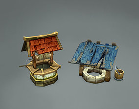 Old Wells - Handpainted 3D model game-ready
