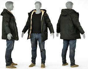 Male Casual Outfit 65 Coat Jeans Footwear 3D model