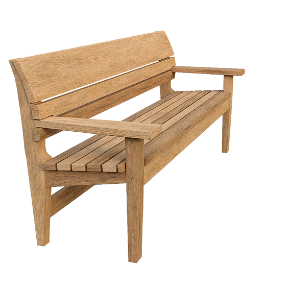 Realistic Wooden Bench
