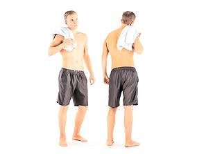 3D asset Man with bath towel 05