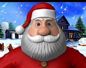 3D asset rigged Cartoon santa claus