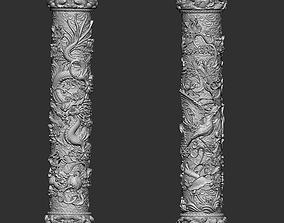 3D printable model Dragon and Phoenix Pillars