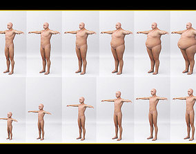 3D model Combine human sizes - from small to large