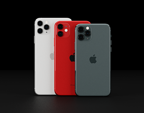 3D asset Apple iPhone 11 and 11 Pro and 11 Pro Max 1