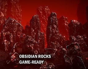 3D model Obsidian rocks