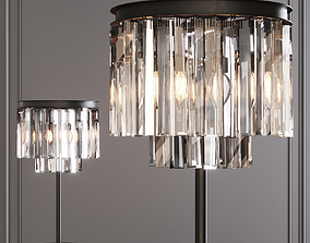 3D RH 1920S ODEON CLEAR GLASS TABLE LAMP 2-TIER Black