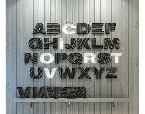 Wood panel English alphabet Gray 3D model