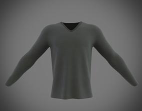 3D model v-neck long sleeve t-shirt