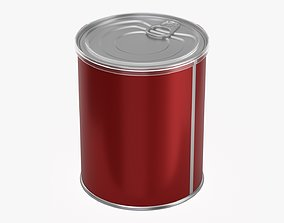 3D model Coffee tin metal can with opener