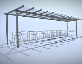 Bike stand 1-9 with glass roof 10800mm 3D model