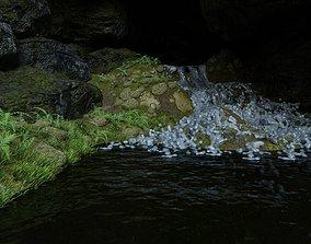 river Waterfall Scene 3D model
