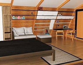 3D model glamping pod with interior