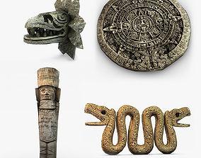 Aztec statues collection 3D asset