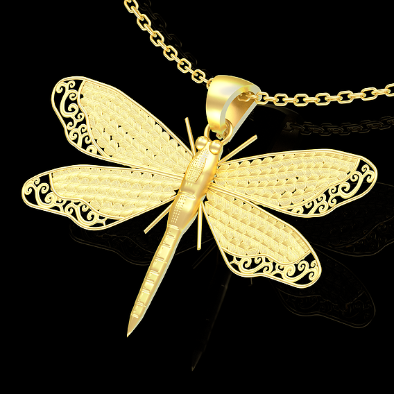 Dragonfly Pendant jewelry Gold 3D print model