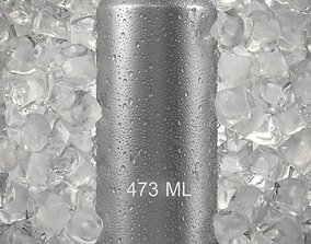 Beverage Can with Ice Cubes and Water Droplets 473ml 3D