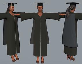 Academic Gown Female Graduate 3D model B rigged