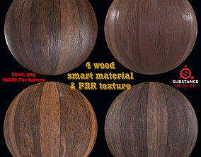 3D 4 Wood Smart material and PBR Texture