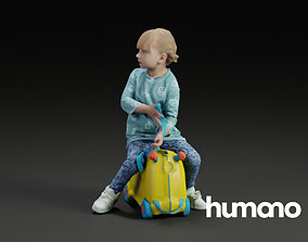 Humano Little girl riding a toy 0908 3D model