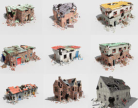 9 destroyed buildings pack 3D asset