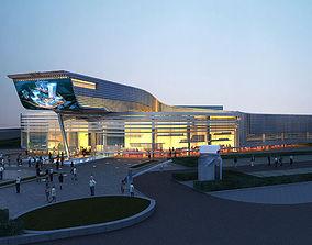 Automobile sales center Night 3D