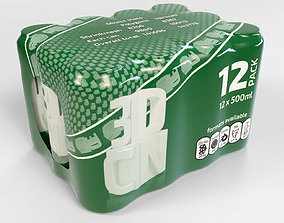 12x 500ml cans in a plastic shrinkwrap 3D