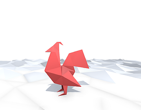 3D asset Origami Rooster