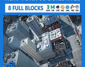 NYC - 8 Blocks - 68 Buildings V2 3D asset VR / AR ready