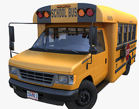 3D asset game-ready American school mid bus