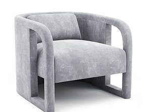 Milo Baughman Pair of Curved Velvet Club Chairs 3D model