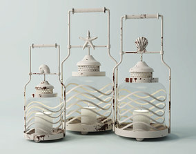 3D model Frosted Globe Shell Lantern Set