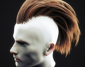 3D asset realtime Undercut Hairstyle Low Poly 5