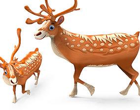 Cartoon reindeer Rigged 3D asset