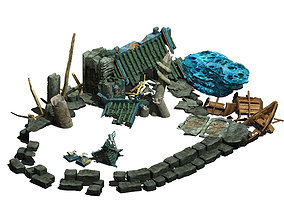 3D model Ancient ruins of the seabed - remains 02