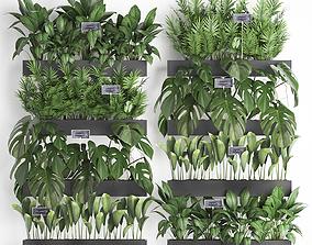 Wooden flower boxes wall decor vertical garden 41 3D model