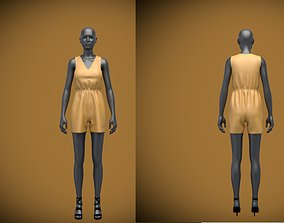 3D jumpsuit shorts on female mannequin 0